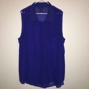 EUC Torrid Royal Blue Sleeveless Chiffon Button Up